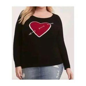 Torrid Heart W/ Arrow Raglan Sweater 3X 22 24